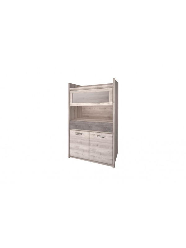 Шкаф с витриной JAZZ 1V2D1S каштан найроби / оникс