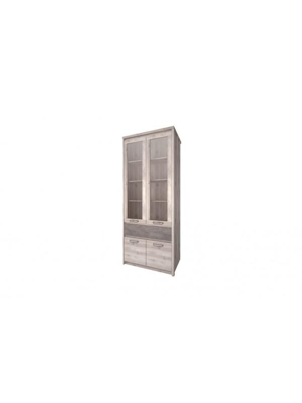 Шкаф с витриной JAZZ 2V2D1S каштан найроби / оникс