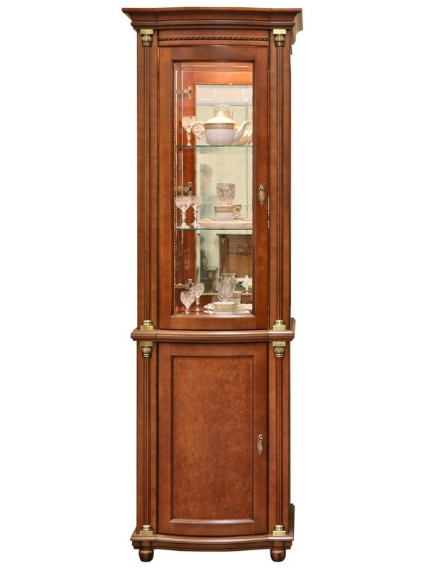 Шкаф с витриной Валенсия 1.1з П244.14.1 (зеркало)