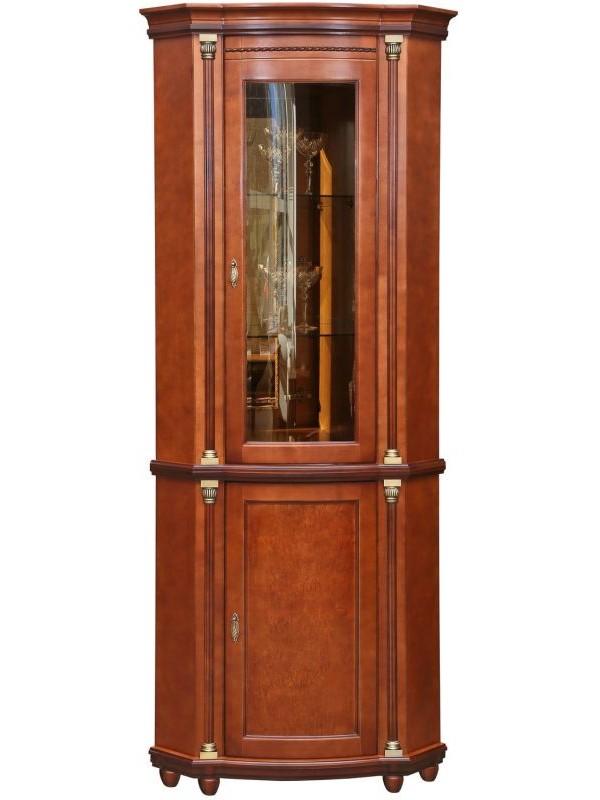 Шкаф с витриной Валенсия 1уз П244.13 (зеркало)